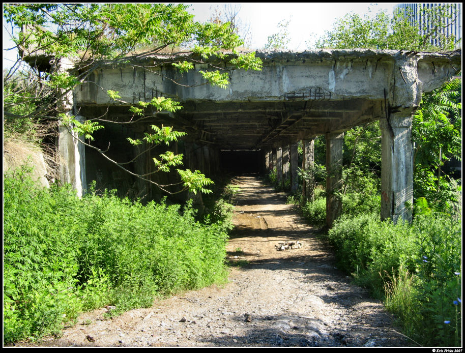 Entrance to abandoned subway, Rochester NY, under abandoned roadway. Epic Roadtrip 2007