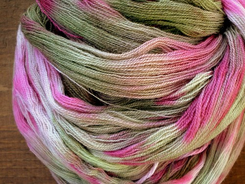 Skein of Handpainted Laceweight  Wool Yarn in Peony Colorway 2