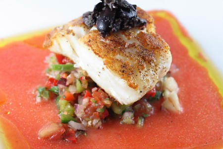 Pan fried Cod with Gazpacho Sauce and Salsa topped with black olive tapenade by singleguychef