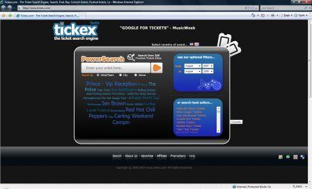 TickEx homepage