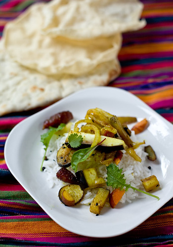 Modern Indian Cooking: spicy eggplant on basmati