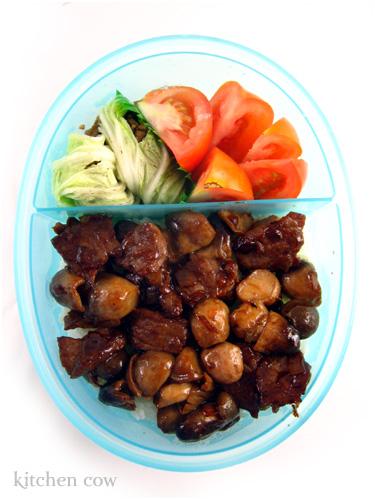 Beef & Straw Mushroom Bento