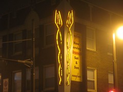 Twisted Forks (johndecember) Tags: usa fog wisconsin night restaurant album milwaukee eastside mke farwellandnorth