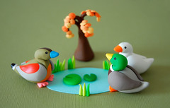 Happy ducks! ({JooJoo}) Tags: tree green bird fall animal toys miniature duck crafts mini polymerclay fimo sculpey mallard collectible joojoo ringedteal whiteduck