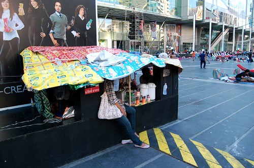 Improvised shelter at Rajaprasong, outside CentralWorld mall