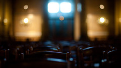 Quiet place... (Kriss on flickr) Tags: church 50mm nikon chairs bokeh f14 interieur reflet inside 169 eglise chaises paroisse 1600iso d300 saintvincentdepaul