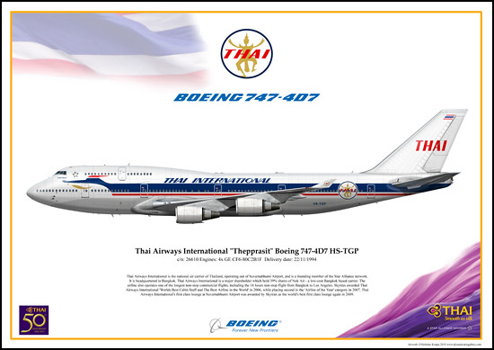 "Thai Airways International RETRO ""Thepprasit"" Boeing 747-4D7 HS-TGP"