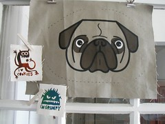 screenprinted patches and pug pillow front from Renegade Craft Fair