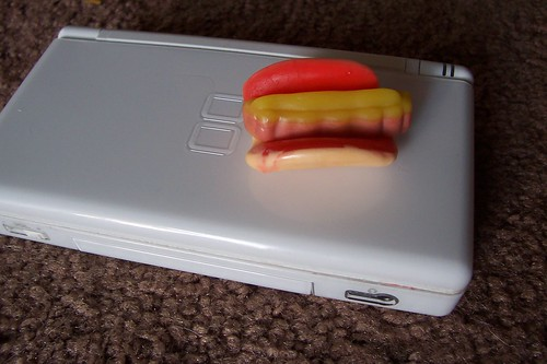 food court gummy philly cheesesteak sandwich on nintendo ds