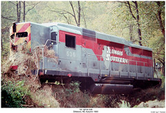 """Illinois Southern"" GP30 536 (Robert W. Thomson) Tags: railroad train is diesel crash crashed harrisonford northcarolina railway trains locomotive trainengine wreck wrecked derailed dillsboro derail emd thefugitive gp30 fouraxle illinoissouthern"
