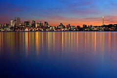 Seattle Reflection At Sunset (Surrealize) Tags: seattle city sunset sky reflection skyline night buildings lights washington nikon colorful cityscape dusk surreal calm spaceneedle lakeunion hdr placid d300 surrealize