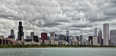 One Giant 25 Exposure HDR Panorama of Chicago on a Cloudy Day (Mister Joe) Tags: city panorama chicago vertical composite buildings boats pier illinois nikon cloudy loop sears large overcast joe lakemichigan lakeshoredrive shore aon hdr willis lakefront multipleexposures northerlyisland chicagopanorama d80 cs5 bigpanorama combinedvertical chicagolooppanorama