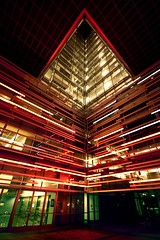 cornering light (Andy Kennelly) Tags: california building lines architecture night dark lights office los downtown neon glow shot angle angeles wide sigma handheld after caltrans