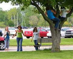 Tree Climbing Gang (FrogBum) Tags: girls tree bicycle climb women photographer bluejeans harrisontownship metroparks huronclintonmetroparks harrisontwp huronclinton metrobeachpark