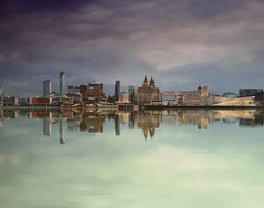 Liverpool Reflected Waterfront (Steve J O'Brien) Tags: longexposure england sky reflection water liverpool buildings river merseyside rivermersey daytripper nikond60