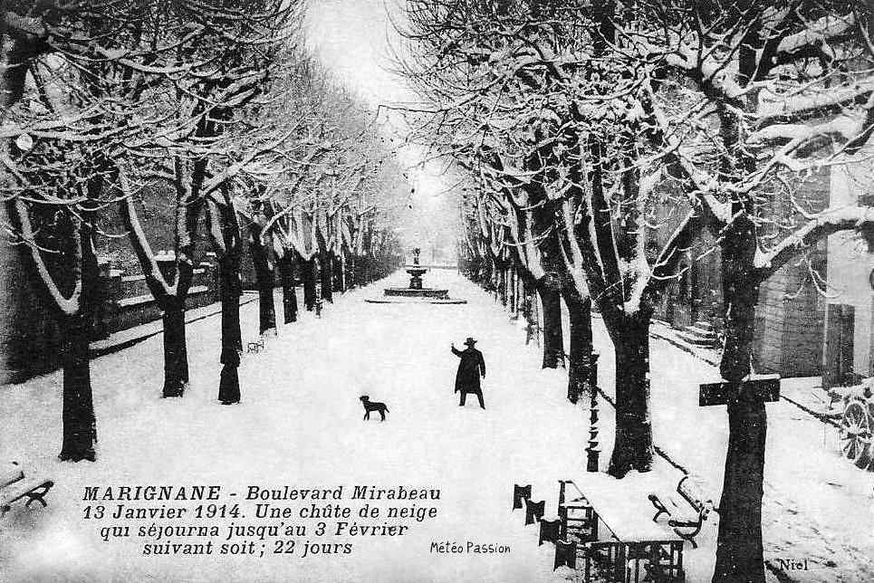 neige à Marignane du 13 janvier au 3 février 1914