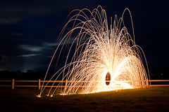 Sparks a Flying (paulfarrellphoto) Tags: longexposure night canon eos fireworks spinning sparks steelwool 450d