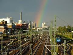 Rainbow over Westhafen (Hendrik B) Tags: berlin train rainbow railway zug rails sbahn gleise westhafen regenbogen zge moabit ringbahn beusselstrae beusselbrcke