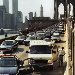 Brooklyn Bridge Traffic (Frizztext) Tags: nyc usa newyork price square traffic manhattan worldtradecenter brooklynbridge oil 1997 wtc 500x500 frizztext