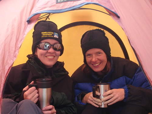 Amy and Ruth enjoying a cuppa in the tent