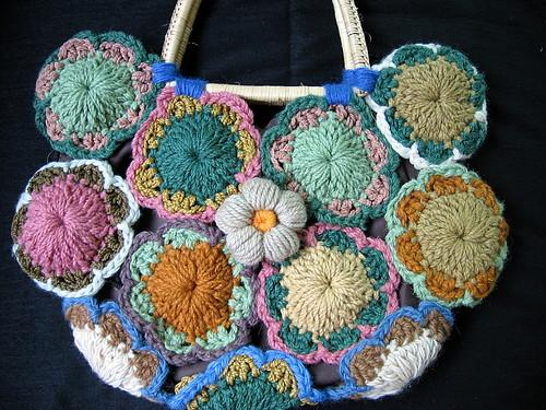 Vintage Crochet Rattan Handles Bag by Smartbiz.