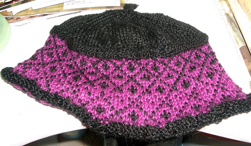 first stranded knitting - stained glass hat