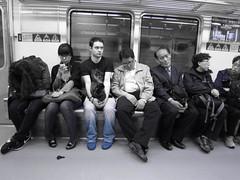 Me On The Metro (Keith Mac Uidhir  (Thanks for 2.5m views)) Tags: blue white black color colour blanco colors branco underground subway asian asia blauw colours metro blu south si transport tube korea bleu kore