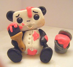 Painting Panda Bot 2 (Sleepy Robot 13) Tags: pink urban cute art fun toy toys robot funny robots polymerclay fimo figurines clay gamer kawaii sculpey etsy urbanvinyl designertoys sculpy sleepyrobot13 videogamepanda