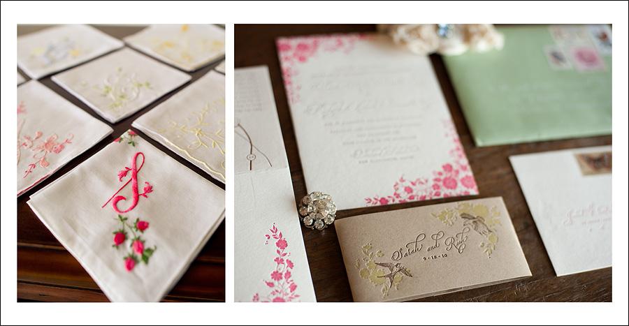 Vintage hankies and letterpressed invites