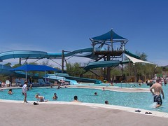 the slides at the community pool