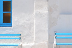 Relaxing shades of blue (Aster-oid) Tags: blue windows white beautiful churches chapels greece benches coolest mykonos ih churchwindows aplusphoto