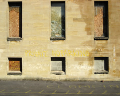 No parking (ant.photos) Tags: desktop uk wallpaper england abandoned broken window yellow wall private bristol geotagged europe background noparking boardedup clamping stphilips geo:lat=51454487 geo:lon=2579065