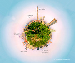 Planet London (Christopher Chan) Tags: travel england panorama london photoshop canon europe unitedkingdom thecity londoneye projection planet stpaulscathedral 1785mm canarywharf 30d