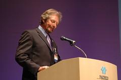 Michael Whelan gives an award