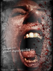 Attack! (Jenny Leigh) Tags: selfportrait texture dead pain blood expression anniversary 911 attack evil crossprocessing scream brushes horror terror misery zombies homage brucecampbell deviantart splatter dictionary gurn photomanip terrifying primal gurning evildead 0911 zombieattack a terrify sixyearsago brushfruit jennyleigh dictionaryofimage valoudsharppiercingcry reallifehorrors