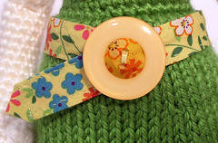 Paulette belt detail (ElisabethD) Tags: pink flower colors toy belt stuffed doll dress handmade crafts crochet knit craft yarn softie kawaii button knitted amigurumi crocheted gourmetamigurumi detailed