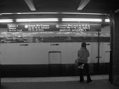 The new york subway (danieleb80) Tags: blackandwhite usa newyork america subway waiting metro lonely newyorksubway pepoleunderground