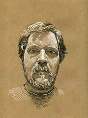 self portrait on brown paper (paul heaston) Tags: brown art pen ink drawing sketching sketchbook blogger3 plinda
