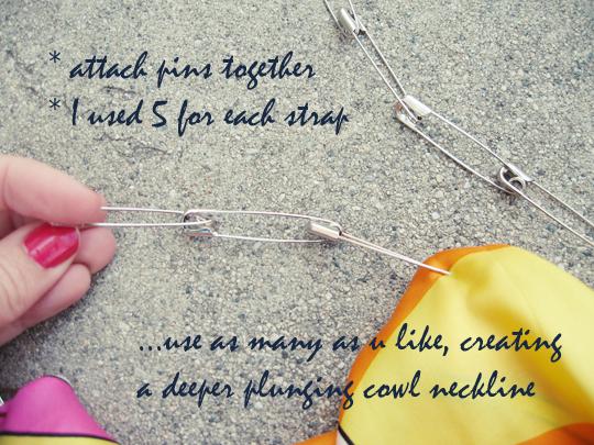 silk scarf DIY safety pin top -6