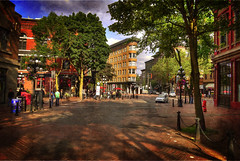 Hotel Europe (Brandon Godfrey) Tags: world pictures road street city trees light urban canada building brick heritage texture sepia vancouver clouds buildings landscape geotagged concrete photography scenery downtown bc waterfront cloudy photos pics earth britishcolumbia sony bricks overcast scene historic cobblestone patio western pacificnorthwest northamerica series dslr waterst gastown westcoast dappled flatiron hdr highdynamicrange saxophone textured foreground powellst 2010 1909 lowermainland a300 hoteleurope metrovancouver photomatix tonemapped tonemapping