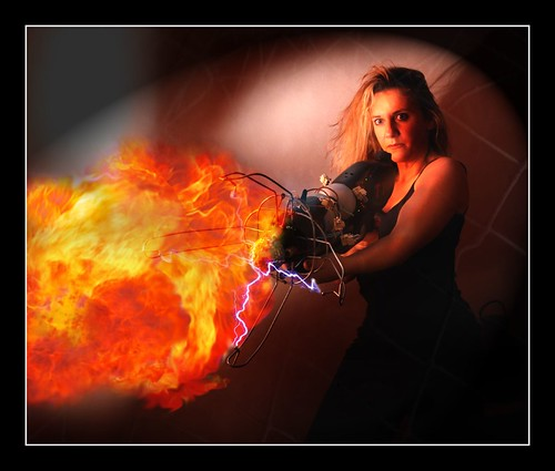 hot girl electric fire gun action flame weapon heat scifi flamethrower sparks