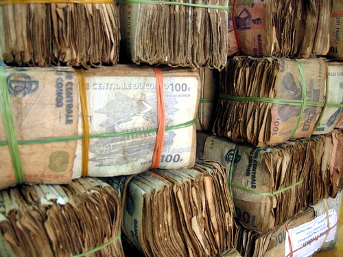 Wads of 100FC, or Congolese Francs