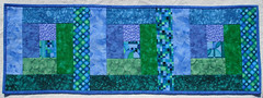 ocean blue green geo half runner (suchprettycolors) Tags: ocean blue green geometric kitchen handmade craft housewares dining patchwork linens tablerunner cooltones jeweltones