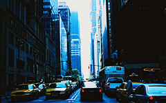 Just like in the films.... (Trapac) Tags: road street city newyorkcity summer usa newyork cars film crossprocessed manhattan broadway slidefilm taxis p nikkor50mmf18 agfa cabs automobiles nikonf80 100iso wmh agfactprecisa isupposeishouldgetofftheroadnow beforethelightschange