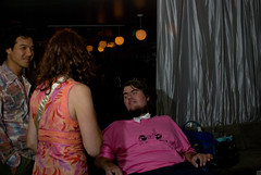 nice pink shirt there guy (placenamehere) Tags: nyc newyorkcity party bowtie nightlife fundraiser pinkshirt als thewhiterabbit dvdreleaseparty sigma30mmf14 everythingwillbeok patrickobrienfoundation pobforg