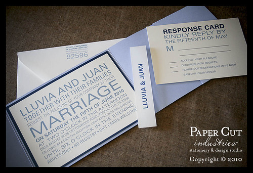 Lluvia & Juan: Blue Block Type Wedding Invitations & Post Card Response Card