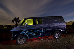 Surreal Killer Van (Lost America) Tags: lightpainting night clouds flames joshuatree fullmoon junkyard van serialkiller startrails flamejob nocturnes seaweedflames