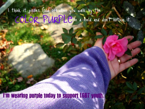 I'm wearing purple today to support LGBT youth