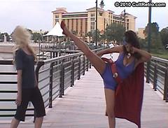 High Kick! (CultRetro) Tags: costume cosplay kick comicbook heroine combat catfight spandex peril lycra hentai fighitng highkick zentai superheroine ryona femforce accomics nightveil bluebulleteer