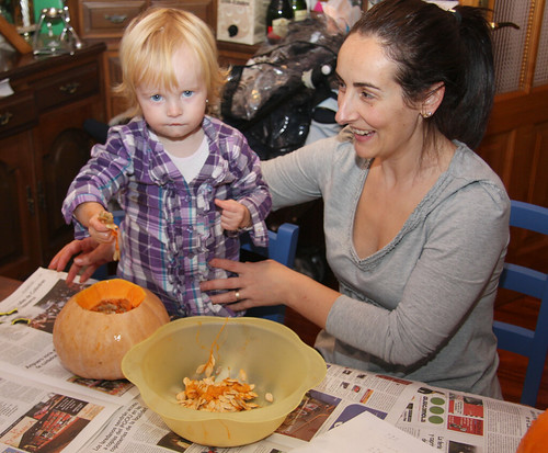 Cleaning Pumpkin Innards